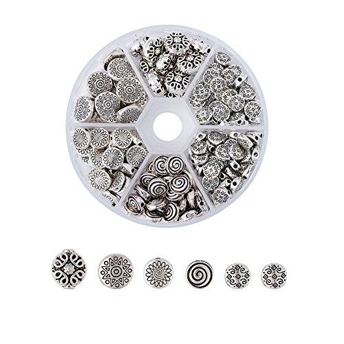 Kissitty 175pcs/box 5 Styles Tibetan Antique Silver Flat Round Spacer Loose Beads Lead Free & Nickel Free & Cadmium Free