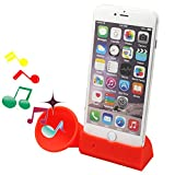 Dseap Silicone Horn Stand Speaker compatible with Apple iPhone 6 Plus iPhone 6s Plus 5.5 inch - Red