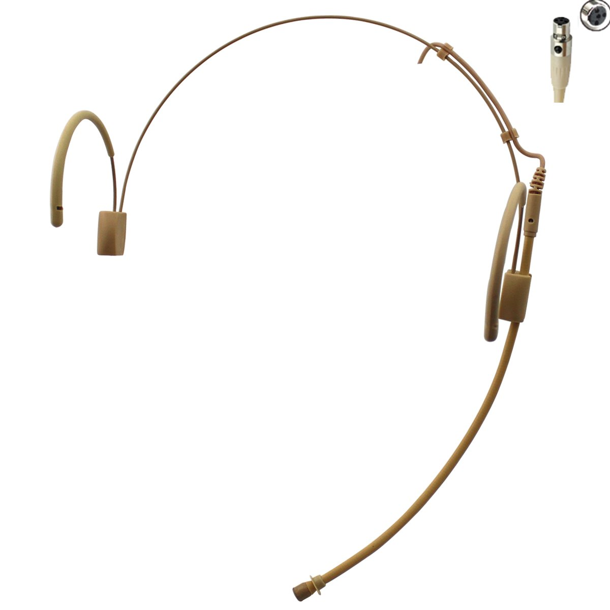Pro Earhook Headset Headworn Omnidirectional Microphone JK MIC-J 060 Compatible with Shure Wireless Transmitter - Mini XLR TA4F Plug by J K