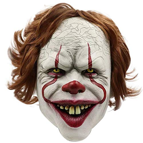 Halloween Ii 2019 Mask (Avafierce Mens IT Chapter 2 Movie Pennywise Mask Wig Cosplay Props for Movie Cosplay)