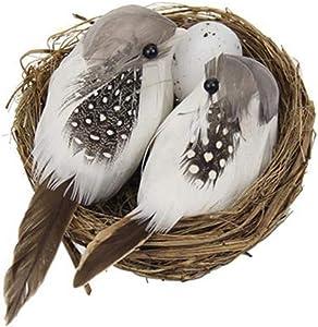 Shiyi Bird's Nest Crafts - Artificial Bird Nest Birdhouses and Birds & Birds Egg, Garden Yard Nature Art Craft Wedding Home Decoration(1set)