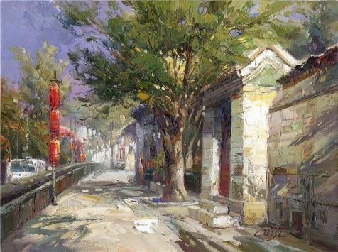 [Perfect Effect Canvas ,the Best Price Art Decorative Prints On Canvas Of Oil Painting 'Decorative Landscape Painting On Canvas: The Street In The Tourist Area', 24x32 Inch / 61x82 Cm Is Best For Wall Art Artwork And Home Gallery Art And] (Costumes Gallery In Stock)