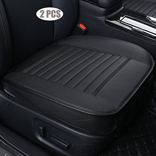 (EDEALYN (2PCS PU Leather Seat Covers Auto Seat Protector Car Seat Covers for Front Seat with Side Flaps,(Deep20 inch × Width20 inch × Thick 0.4 inch) (Black-2 PCS))
