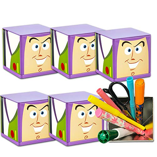 Disney Pixar Toy Story Party Favors Boxes ~ 6 Deluxe Tin Buzz Lightyear Containers for Treats, Toys, Favors (3x3x3 Inches, Toy Story Party Supplies)