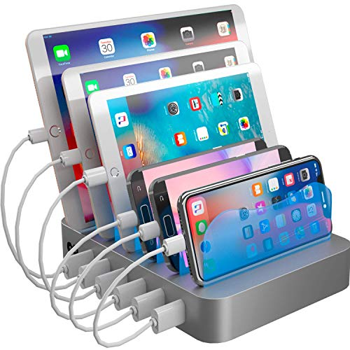 (Hercules Tuff Charging Station Organizer for Multiple Devices - 6 Short Mixed Cables Included for Cell Phones, Smart Phones, Tablets, and Other Electronics)