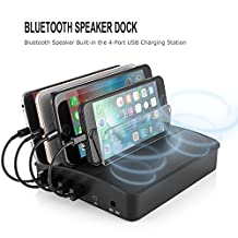 YouLike 4-Port USB Charger Station with Wireless Bluetooth Speakers Desktop Docking Station Device Organizer Stand for iPhone iPad Phones and Tablets
