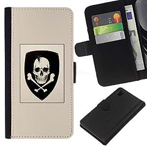 ZCell / Sony Xperia Z1 L39 / Skull Coat Of Arms Emblem Crossbones / Caso Shell Armor Funda Case Cover Wallet / Cráneo escudo de brazos emb