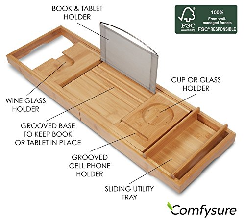 Expandable Bamboo Bathtub Caddy - Adjustable Wooden Serving Tray and Organizer for Any Size Bath Tub - Water Resistant - Phone and Tablet Compartments