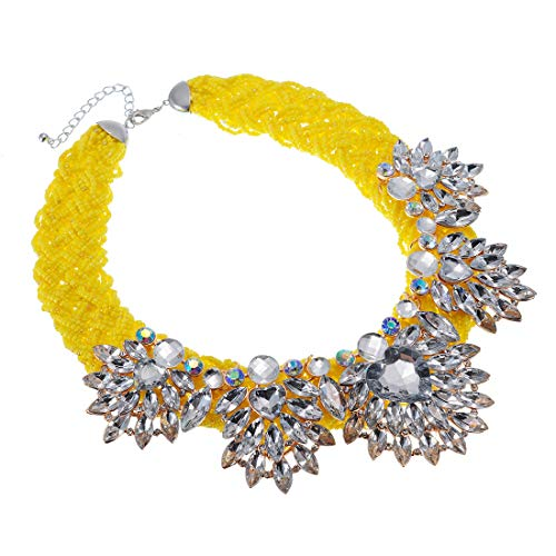 XBY-US Fashion Yellow Statement Bib Chain Necklace,Handmade Braid Crystal Necklace Flower-Shaped Choker Collar for Women Costume Jewelry
