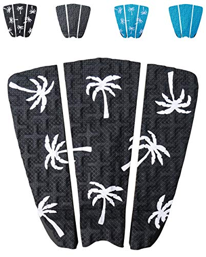 Ho Stevie! Premium Surfboard Traction Pad [Choose Color] 3 Piece, Full Size, Maximum Grip, 3M Adhesive, for Surfing or Skimboarding (Black with White Palm Trees) (Traction Surf)
