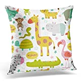 AileenREE Throw Pillow Cover Africa Baby Jungle Animals White Bird Cartoon Square Size 16 x 16 inches Decorative Pillow Case Home Decor Square Pillowcases