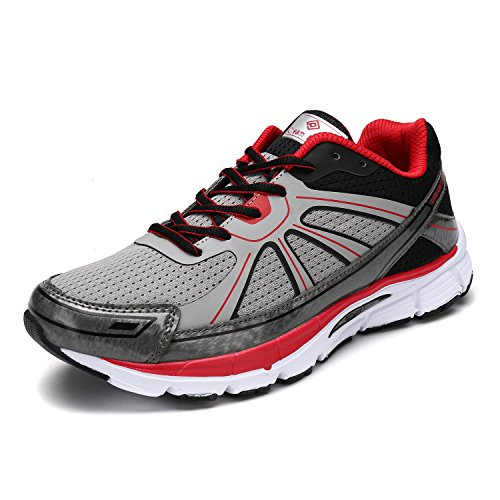 DREAM PAIRS Men's 160318-M Grey Black Red Running Shoes Sneakers - 9.5 M - Black Friday For Men