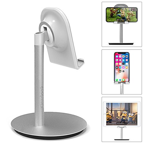 Cell Phone Stand Klearlook 10-45 Degree Tilt Adjustable Phone Stand Desk Holder Compatible with iPhone Galaxy Smartphone Tablet Desk Stand [Silver]