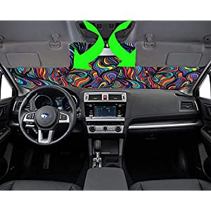 MSD Car Sun Shade Windshield Sunshade Universal Fit 2 Pack, Block Sun Glare, UV and Heat, Protect Car Interior, Image ID…