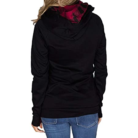 Mujer blusa tops manga larga con capucha cremallera,Sonnena ❤ Sudadera de color sólido de manga larga para mujer Sudaderas con capucha Blusa Casual ...