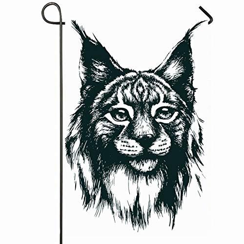 Ahawoso Outdoor Garden Flag 12x18 Inches Imagine Blue Big Lynx Bobcat Nature Danger Green Cat Anger Beast Clever Art Seasonal Home Decorative House Yard Sign