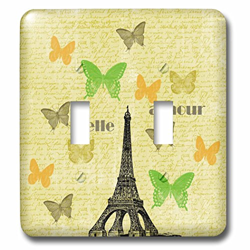 3dRose lsp_79084_2 Belle Amour Paris Eiffel Tower Vintage Butterflies Double Toggle - Bella Switchplate