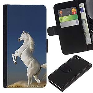 KingStore / Leather Etui en cuir / Apple Iphone 6 / Pegasus Caballo Unicornio Blanco Cielo Nube