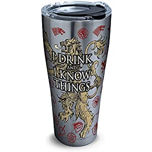Tervis 1272324 HBO Game of Thrones - House Lannister Insulated Travel Tumbler & Lid, 30 oz - Stainless Steel, Silver