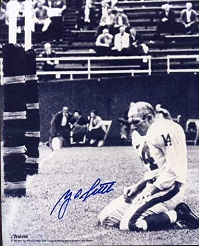 Y.A. Tittle Famous 1964 Photo Autographed/ Original Signed 8x10 Photo of the Kneeling Quarterback Bloodied and Without Helmet After Being Knocked Down Against the Pittsburgh Steelers In Final - Colts Quarterback