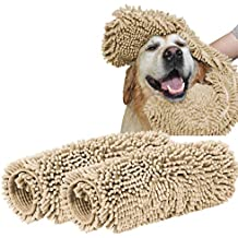 Turquoize Super Shammy Dog Towel Ultra Soft Microfiber Chenille Dog Pet Bath Dry Towel Hand Pockets Super Absorbent Durable Quick Drying Washable Towel Prevent Mud Dirt Taupe (24 x 14 Inch, 2 Pack)