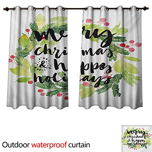 (WilliamsDecor Christmas 0utdoor Curtains for Patio Waterproof New Year and Happy Holiday Rustic Design Wreath with Berries and Evergreen Image W72 x L63(183cm x 160cm))