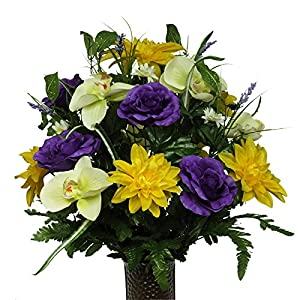 Purple Roses Yellow Dahlias and Orchids, featuring the Stay-In-The-Vase Design(C) Flower Holder (MD1356) 82