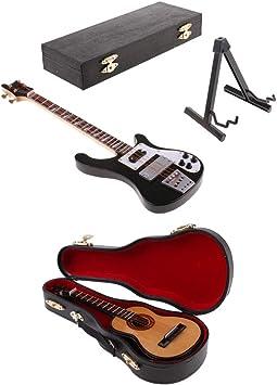 Amazon.es: FLAMEER Escala 1:6 Bajo Eléctrico Guitarra Mini Modelos ...