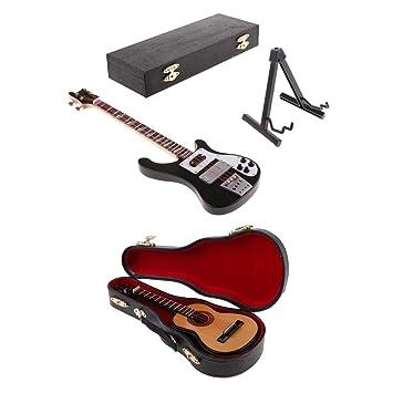 FLAMEER Escala 1:6 Bajo Eléctrico Guitarra Mini Modelos Juguete para 12 Pulgadas Figura de