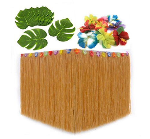 Hawaiian Party Supplies Hula Grass Table Skirt + 30 Tropical Leaves+24 Hibiscus Flowers Luau Party Jungle Beach Theme Table Decorations (Straw) by ZZGO