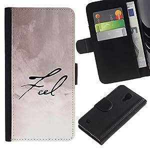 SAMSUNG Galaxy S4 IV / i9500 / SGH-i337 , la tarjeta de Crédito Slots PU Funda de cuero Monedero caso cubierta de piel ( Feel Calligraphy Paper Handwritten Note Ink)
