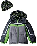 London Fog Toddler Boys' Active Heavyweight Jacket with Ski Cap, Super Green, 3T