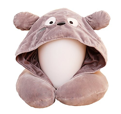 Pevor Traveling U- Shaped Pillow Removable Washable Cartoon Totoro with Hoop Cap Neck Pillow for Car Airplane - Medium Cap Hoop