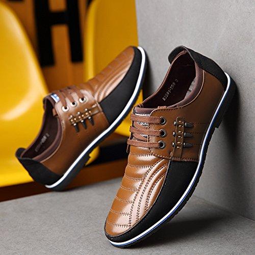 Cuero De Hombre aumentar Negro Ocasionales zapatos Speedeve Con azul Zapatos marrón Marrón Cm Planos 6 Cordones tI1cTq