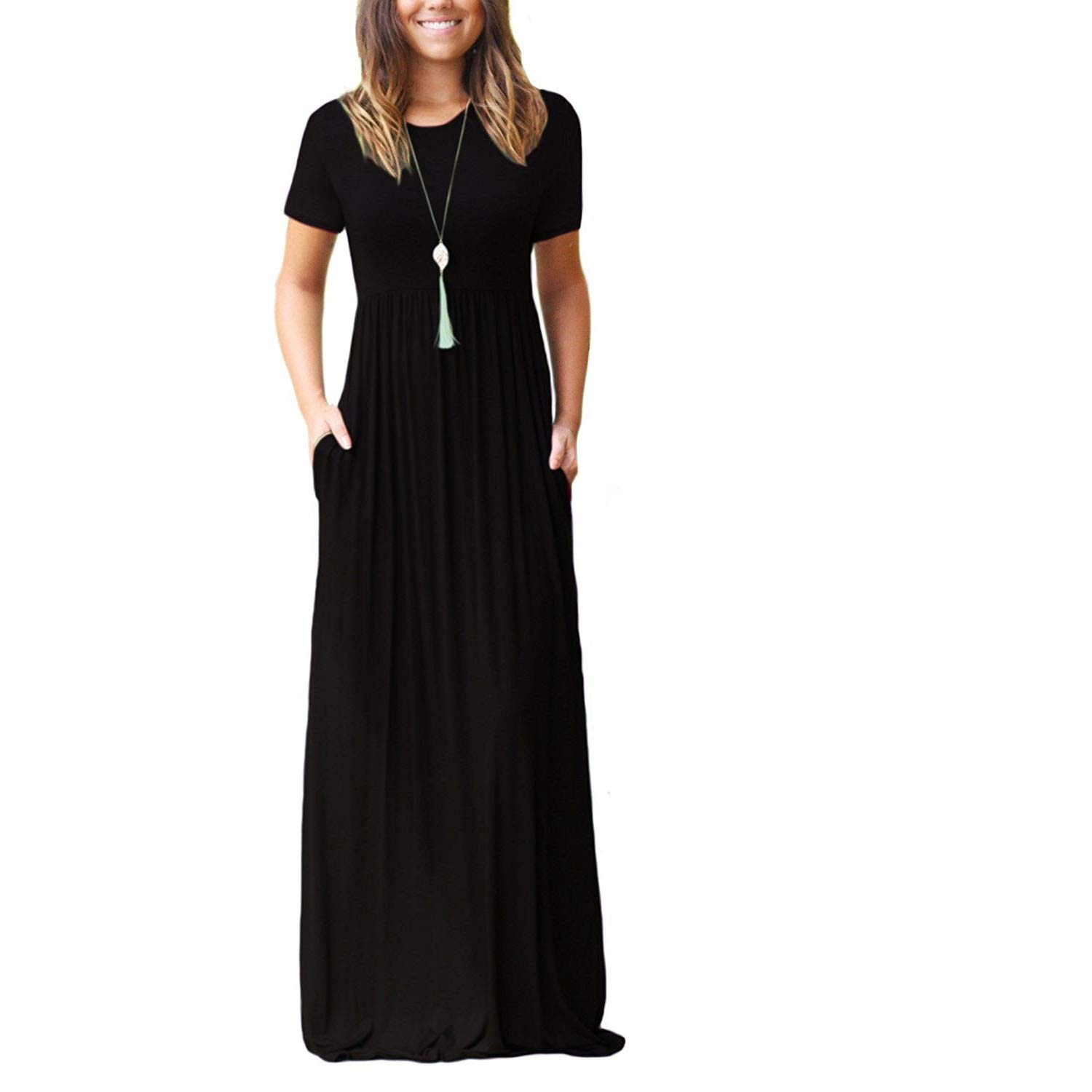 e829826bb875 MAKARTHY Womens Maxi Dress Short Sleeve Cotton Long Dress with Pockets at  Amazon Women's Clothing store: