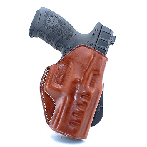 (Premium Leather Paddle Holster Open Top Fits, Beretta APX Compact 9mm 40 Caliber 3.7''BBL, Right Hand Draw, Brown Color #1488#)
