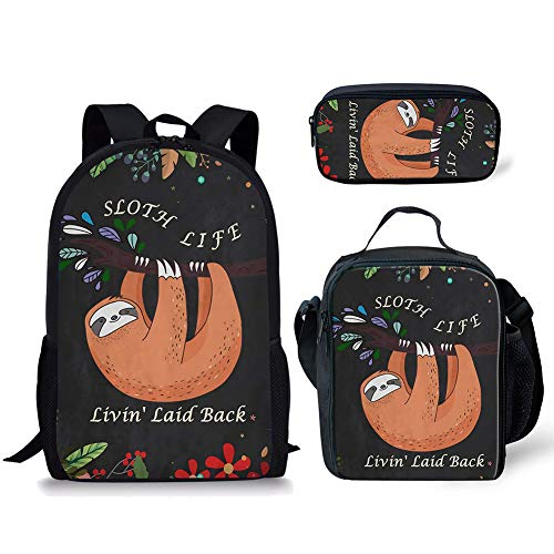 Sloth Bookbag for Girl Boy Daypack Leisure Portable Packable Backpack for Travel Hiking Picnic Rucksack and Lunch Bag for Elementary Middle High School Student Sloth Design 3 Piece Sets 17 Inch
