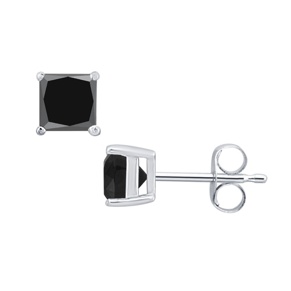 3MM TO 10MM SVC-JEWELS Princess Cut Black Diamond Solitaire Stud Earrings 14K White Gold Over .925 Sterling Silver For Womens /& Girls