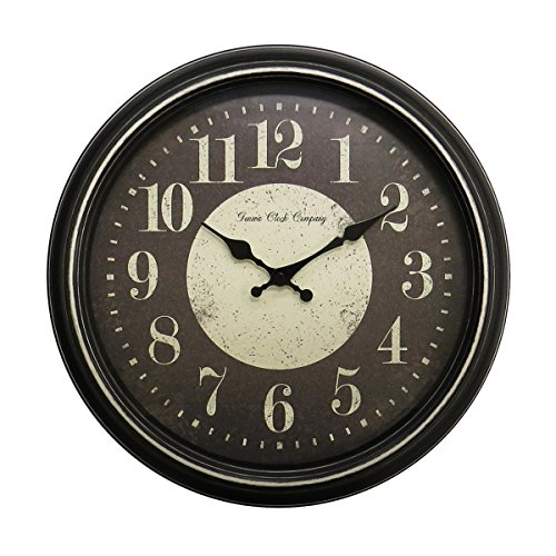 Geneva Plastic Wall Clock with Latte Rub Finish, 15.75-Inch