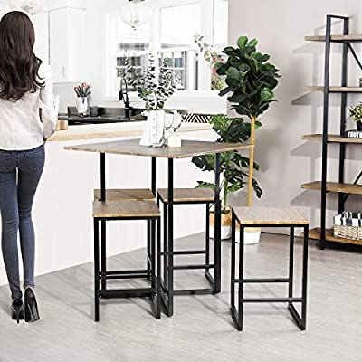 Framodo 5 Piece Kitchen Counter Height Pub Dining Table Set Square High Breakfast Table With 4 Bar Stools Buy Online At Best Price In Uae Amazon Ae