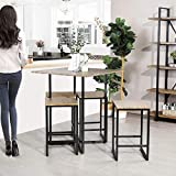 Framodo 5-Piece Kitchen Counter Height Pub Dining Table Set, Square High Breakfast Table with 4 Bar Stools