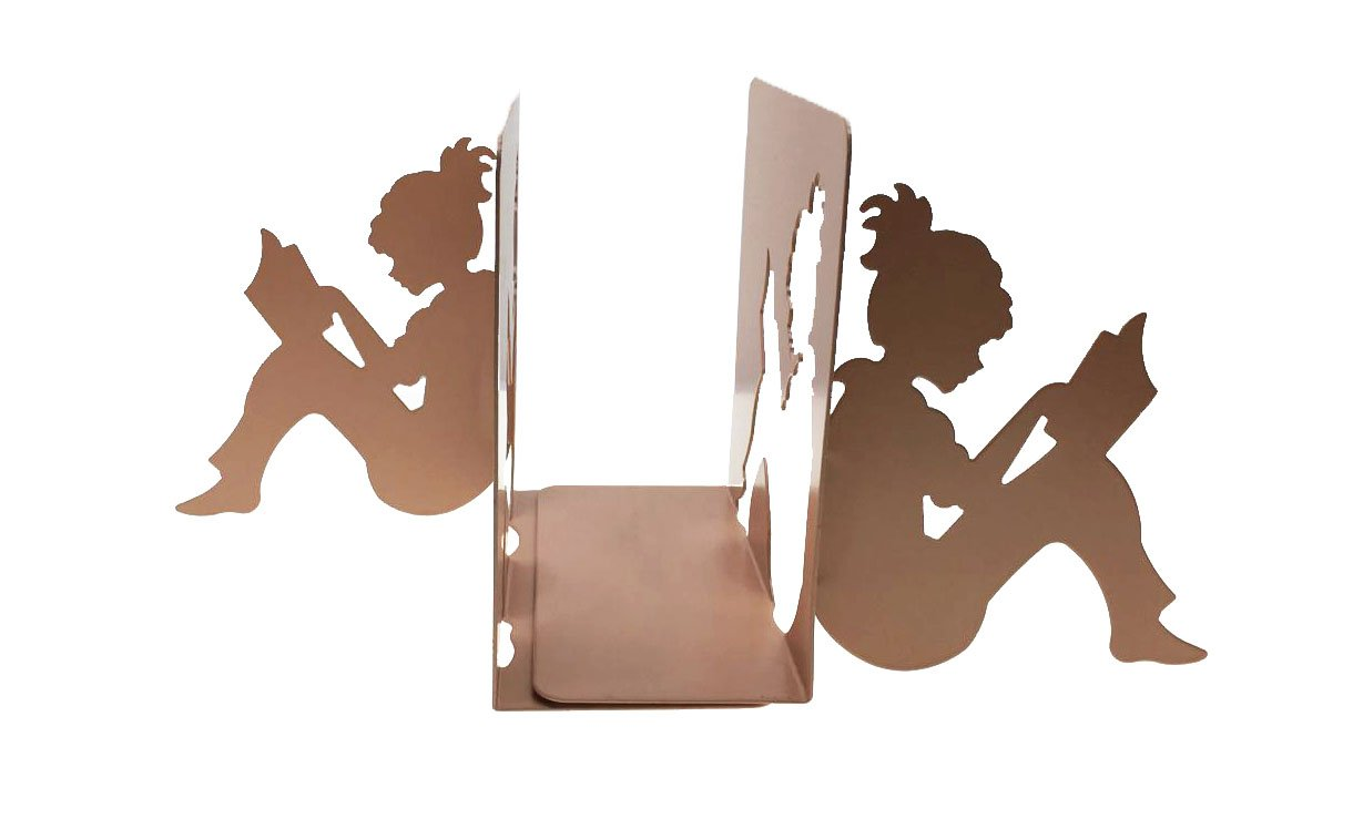 Patten Metal 3D Paper-cut Little Girl Is Reading Bookends Book Ends For Kids Teenagers Teachers Students Adults Study Home School Library Office Decoration Birthday Gift (Pink)