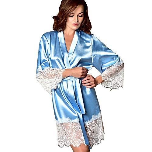 - Quelife Women Sexy Satin Nightgown Long Silk Bathrobe Lace Underwear V-Neck Bath Robe Light Blue