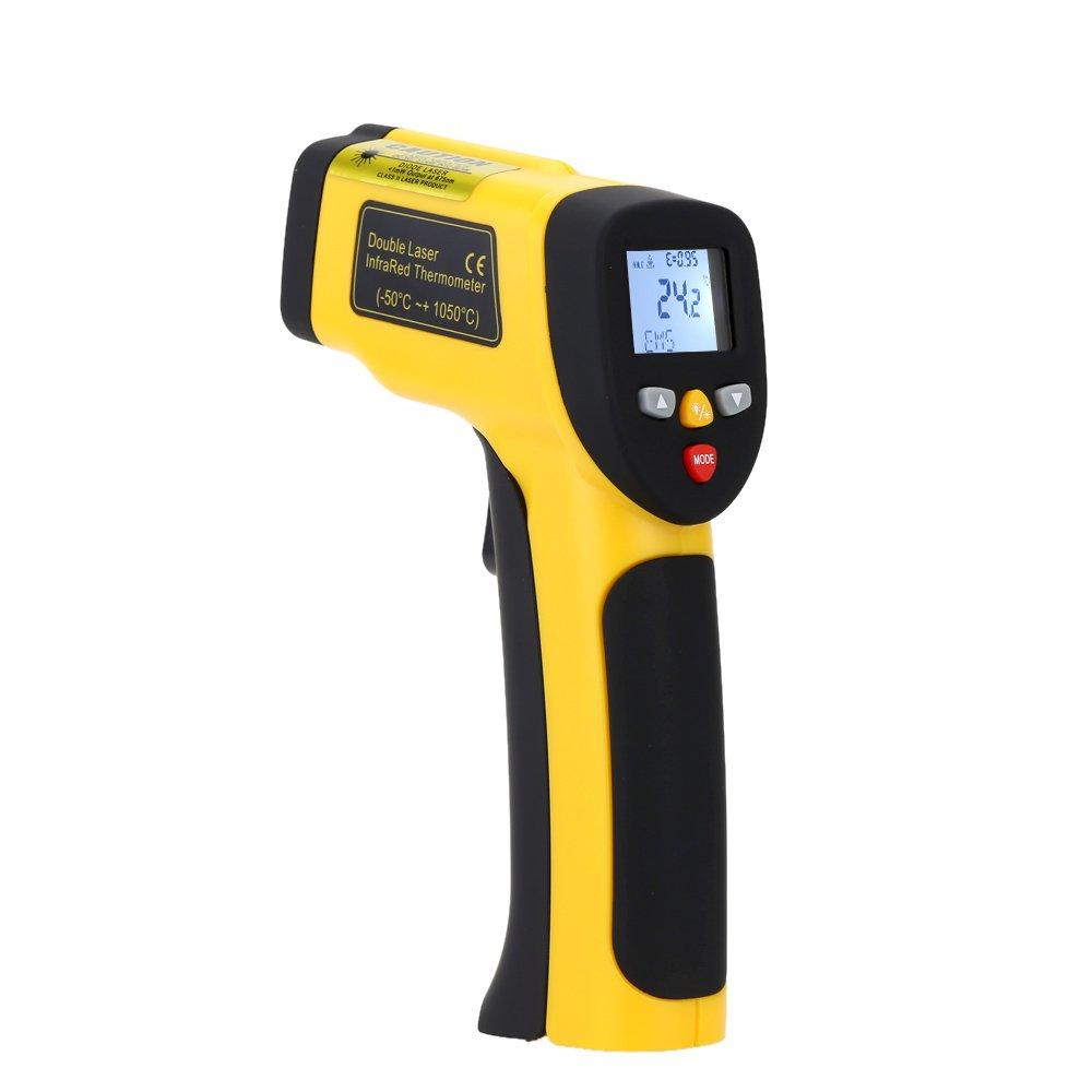 KKmoon -50 ~ 1050 ° C(-58 ~ 1922 ° F) Doppelte Laser Infrarot Thermometer mit LCD Weiße Beleuchtung Anzeige Digital Berührungslose Celsius Fahrenheit Wählbar IR Thermometer Pyrometer Daten Speicher