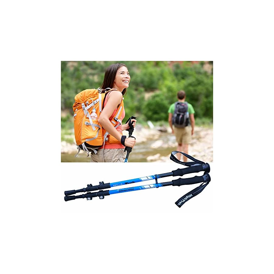 High Trek Premium Ultralight Trekking Poles w/Sweat Absorbing EVA Grips Your Collapsible Hiking/Walking Sticks Come with Tungsten Tips and Flip Locks Enjoy The Outdoors