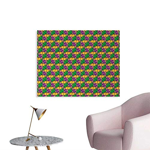Tudouhoho Abstract Funny Poster Geometric Cube Square Boxes Hexagonal Abstract Effects Print Photographic Wallpaper Fuchsia Earth Yellow Lime Green W28 xL20