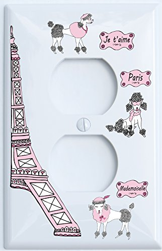 Presto Chango Decor Poodle in Paris Light Switch Plate Covers for the Wall/Paris Room Decor (Outlet Cover)