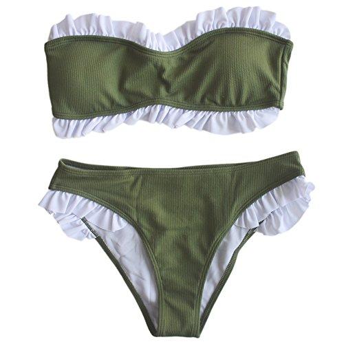Bandeau Bikini Swimsuit - IMAYIO Ruffled Swimsuits Sexy Women's Ribbed Bandeau Bikini Set (Army Green, Medium)
