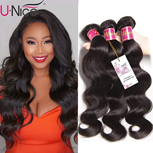 UNice Hair Icenu Series 8a Indian Body Wave Virgin Hair 3 Bundles, 100% Unprocessed Human Hair Extensions Weave Natural Color (18 20 22 inches)