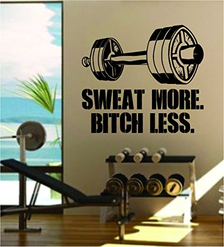 Sweat More v2 Quote Fitness Health Work Out Gym Decal Sticker Wall Vinyl Art Wall Room Decor Weights Dumbbell Motivation Inspirational by Boop Decals